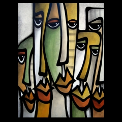 Good Guys - Original Abstract woman painting Modern pop Contemporary Art FACES by Fidostudio