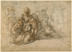 The Holy Family with the Infant Saint John the Baptist (recto); Amorous Putti at Play; Head of a Bird (verso)