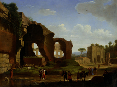 A Roman View of the Ruins of the Temple of Venus and Rome with the Colosseum and the Arch of Constantine