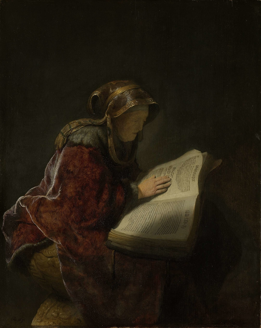 An Old Woman Reading, Probably the Prophetess Hannah
