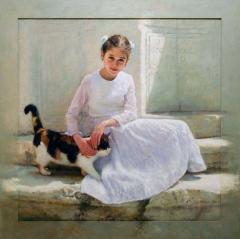 """""""Η Θάλεια και η γάτα"""" / """"Thalia and the cat"""",  100 x 100 cm, oil on canvas."""
