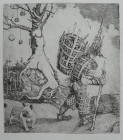 """Wickery Man"" copper engraving"