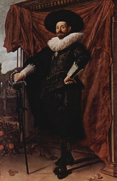 Willem van Heythuysen posing with a sword