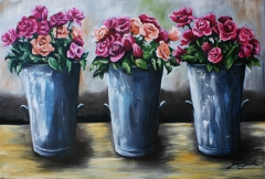 Pails of Pink Roses