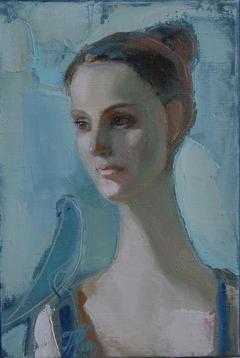 Portrait girl with a bird
