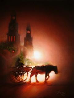 "Evening Fog Ride  - Oil on Canvas  18"" x 14"""
