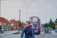 'The Cyclist' (2014) oil on linen, 71 x 107 cm
