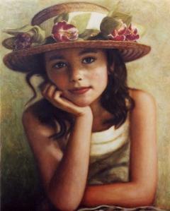 «Kοριτσάκι με ψάθινο καπέλο», 40 x 50 cm, oil on canvas.