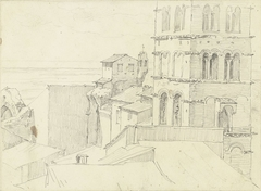De campanile van S. Giovanni e Paolo met aangrenzende hoge huizen en vergezicht