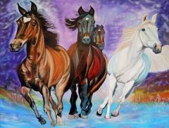 """""""Horses in Motion"""", oil on linen, 100 x 80 cm"""